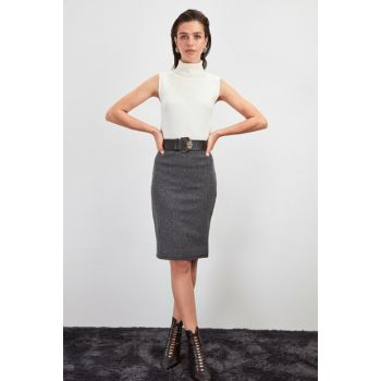 Gray Pencil Knitted Skirt TWOAW20ET0632
