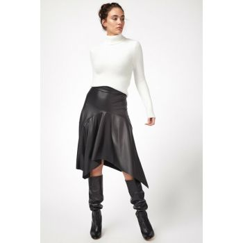 Women's Black Asymmetrical Cut Faux Leather Skirt ES00112