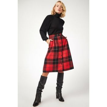 Women's Red Patterned Buttoned Stamp Skirt BH00184