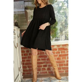 Women's Black Block Piece Velvet Dress 9YXK6-41947-02