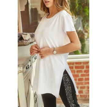 Women's White Slit Crew Neck T-Shirt 9YXK1-41909-01