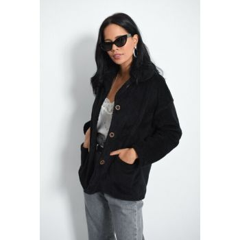 Women Black Plush Coat DA31
