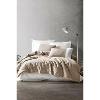 New Plain Sport Double Duvet Cover Set Mink Cream 1184000301052