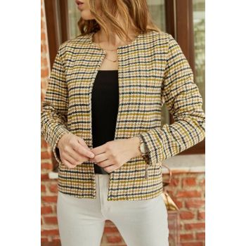 Women's Yellow Crowbar Patterned Jacket 9YXK4-41870-10