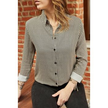 Women's Black Mini Crowbar Patterned Shirt 9YXK2-41978-02