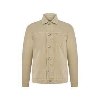Men's Beige Cotton Trucker Jacket 352726