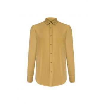 Men's Dark Mustard Slim Fit Cotton Shirt 359872