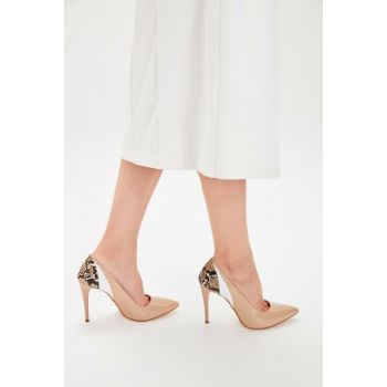 Beige Patent Leather Women's Heels Shoes TAKAW20TO0006