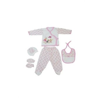 Pink Baby Girl Teddy Bear Embroidered 5 Pieces Hospital Outlet FYZM1588