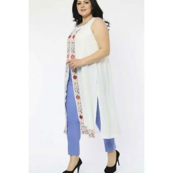 Women White Embroidered Vest P5096