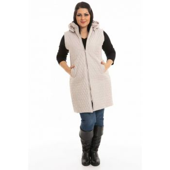 Women's Cream Quilted Long Vest P5245
