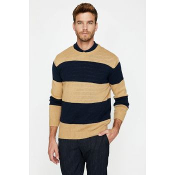 Men's Coffee Striped Sweater 9KAM91165LT