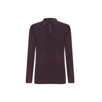 Men's Plum Polo Collar Cotton Pullover 338073