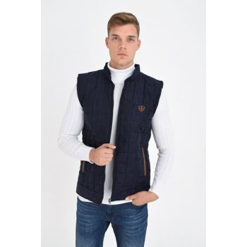 Men's Navy Blue Zippered Quilted Artificial Suede Vest 4380