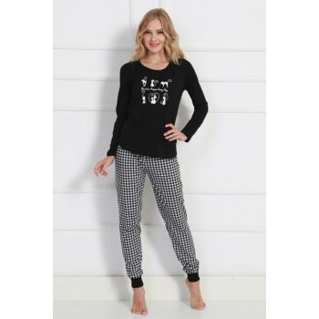 Women's Black Long Sleeve Pajama Set 9050671083 Y19W137-9050671083
