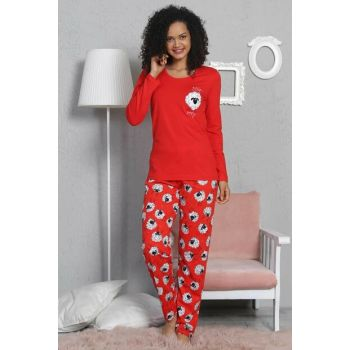 Women's Red Long Sleeve Pajama Set 8020562429 Y19W137-8020562429