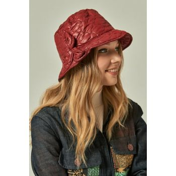10916 Quilted Bow Detailed Bucket Red Hat SPK-1849