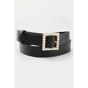 Women's Black Buckle Pearl Belt 09873326