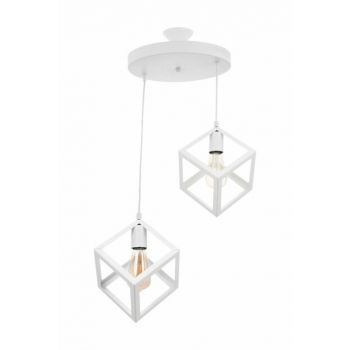 Modern Design Cube White 2 Pieces Chandelier 0251