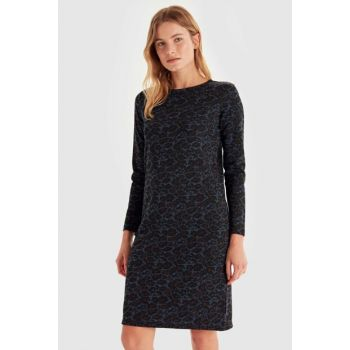 Women Navy Blue Jacquard Dress 9WL073Z8