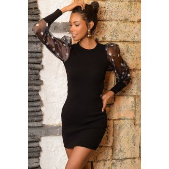 Women's Black Polka Dot Balloon Organza Sleeve Lycra Dress ALC-Y2896