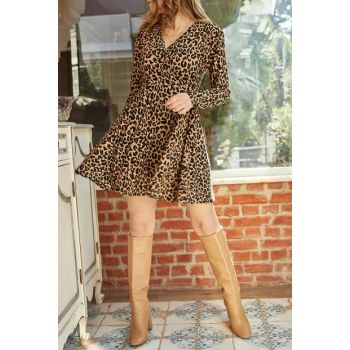 Women's Brown Leopard Printed Double Breasted Dress 9YXK6-41949-18