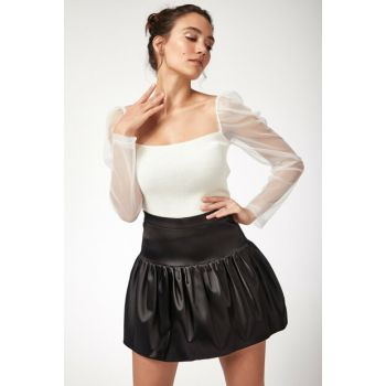 Women's White Tulle Sleeve Square Neck Sweater Crop Blouse LT00026