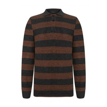 Men's Tile Polo Neck Striped Long Sleeve T-Shirt 353591