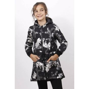 Girl's Long Coat with Belt Tie - Black - 14 Years - 164cm Lenght 11772-