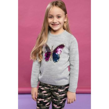 Gray Teenage Girl Butterfly Printed Knitwear Sweater J4590A6.18WN.GR28