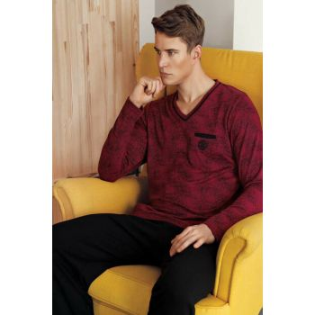 Men's Burgundy Jacquard V Neck Pajamas Set MEP24513-1 MEP24513-1