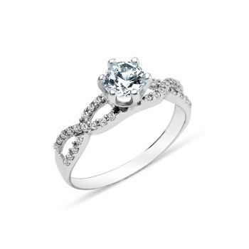 Women's 925 Sterling Silver 6 Nail Infinite Solitaire Ring GY00161