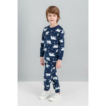 Boys' Navy Blue Fleece Pajamas Set RP1536-C-V1