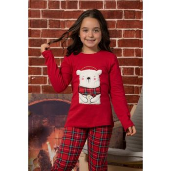 Girls Kids Red Welsoft Embroidered Cotton Lycra Pajamas Suit 2038