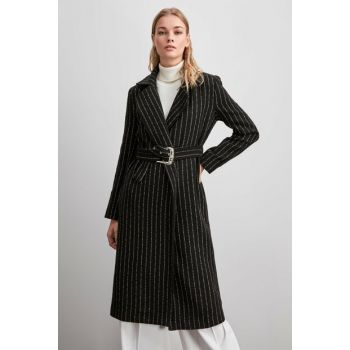 Black Long Metal Buckle Arched Stamp Coat TWOAW20KB0155