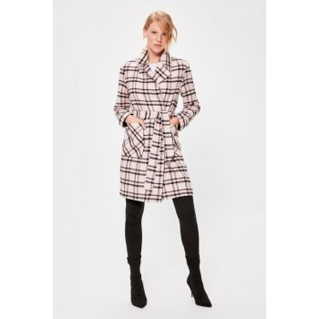 Pink Arched Plaid Stamp Coat TWOAW20KB0129