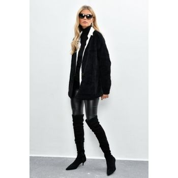 Women's Black Plush Jacket DA42