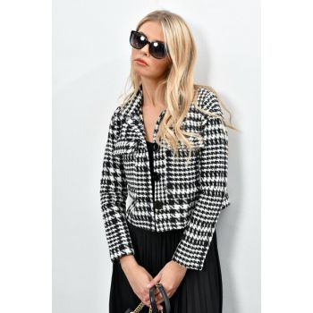 Women Ecru-Black Crowbar Buttoned Jacket IS2132