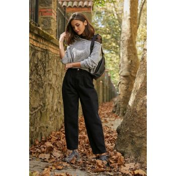 High Waist Balloon Mom Jean Trousers - BLACK - 20KPA118K121