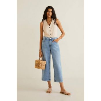 Women's Dull Blue Relaxed Culotte Jean Pants 53000588