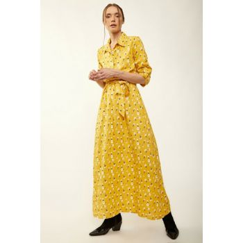 Women Flower Yellow Patterned Hijab Dress 1549BGD19_269