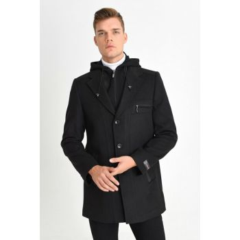 Men's Black Wool Blended Stamp Detachable Hooded Front Zipper And Button Coat 9190