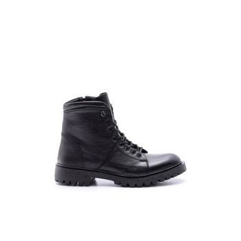 Genuine Leather Men Black Boots 19WFD347514