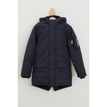 Navy Blue Boy Hooded Parka K8486A6.19AU.NV71