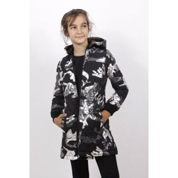 Girl's Hooded Coat Sleeve with Ribbon - Black - 8 YEARS - 128cm Length 11771-