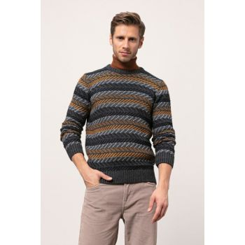 Men's Antra Melange Patterned Wool Sweater 343286