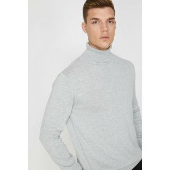 Men's Gray Turtleneck Sweater 0KAM92014LT
