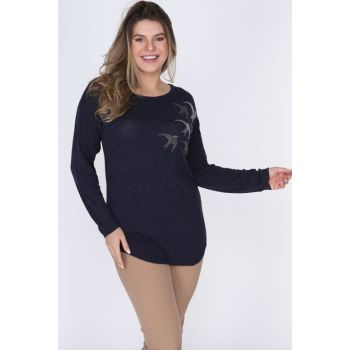 Women Navy Blue Long Sleeve Blouse DSN0567