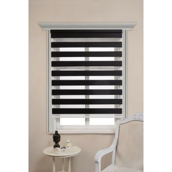 Black Bamboo Zebra Curtain 7203Black