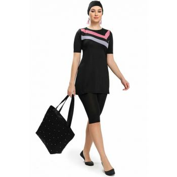 Women Hijab Swimwear Short Sleeve Black 9152-01 ARMST9152-01